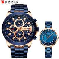 Completa de acero de los hombres reloj de cuarzo mujeres marca reloj tous señora de la manera de la trenza de la correa de reloj superior de la marca de lujo de los amantes de los relojes de moda par CURREN relojes para los amantes