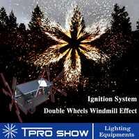 Boda fría máquina de fuente de doble Spining remoto pirotecnia sistemas etapa plata llama efecto de luz dispositivo