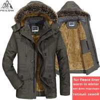 PEILOW plus tamaño 5XL 6XL chaqueta de invierno los hombres gruesa a prueba de viento a prueba parka con capucha hombre chaquetas y abrigos abrigo chaquetas masculina