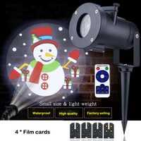 Dibujos animados de Navidad de luz LED etapa 4 película de diapositivas de copo de nieve para proyector impermeable al aire libre ip65 linterna fiesta vacaciones lámparas