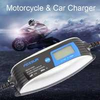 FOXSUR 6 V 12 V 12 V cargador de batería LCD con pantalla de la motocicleta y batería de coche cargador 12 V AGM GEL húmedo cargador de batería de plomo ácido