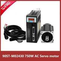 90ST-M02430 220 V AC Servo motor de frenado función 3000 RPM 2,4 N.M 750 W de una sola fase ac imán permanente coincidentes conductor