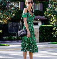 Vestido de autorretrato 2018 Sexy cuello en V espalda descubierta hombro espagueti Correa vestido Midi verde Floral impreso plisado gasa