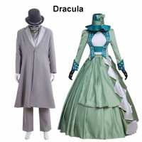 Cosplaydiy película Dracula Cosplay Costume de Bram Stoker mens medieval traje mujeres mina vestido azul con sombrero traje de parejas