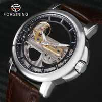 Reloj de puente dorado de lujo de marca superior FORSINING para hombre reloj de pulsera mecánico automático de correa de cuero genuino para hombre