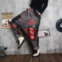 Pantalones vaqueros de algodón de cintura elástica para mujer, pantalones Harem de Nepal, pantalones holgados Boho, entrepierna baja para mujer, Hippie India, Aladdin