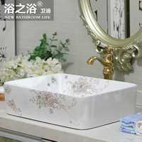 Baño de cerámica Europea encimera arte lavabo cuarto de baño fregadero cuadrado de la orquídea de oro de lavabo