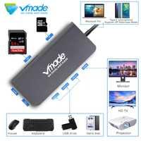 Vmade USB-C Hub a HDMI adaptador Thunderbolt 3, USB-C Hub Dock con Hub USB 3,0 PD TF tarjeta SD lector para MacBook Pro tipo C