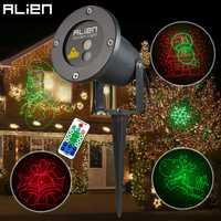 ALIEN remoto RG 8 grande Xmas patrones al aire libre impermeable láser proyector Jardín de vacaciones árbol de Navidad rojo verde paisaje Luz