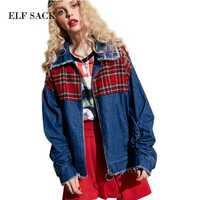 ELF saco 2017 Mujer Denim Parchwork Chaquetas cortas Plaid rojo niñas bajos cortados sueltos Zepper azul Denim Chaquetas Mujer corto los costos de