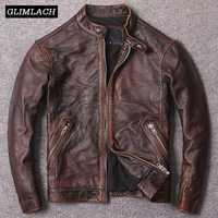 Nouveau automne Vintage marron véritable vache en cuir manteaux hommes qualité peau de vache mince en cuir véritable moto vestes mode Biker veste