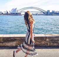 Alta calidad auto retrato vestido de las mujeres 2019 diseñador de verano Sexy rayas borla Maxi largo vestido Bohemia playa vestido