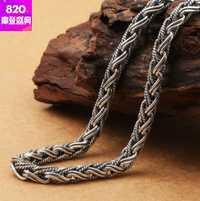 Collar de hombre 100% Collar de plata real collares bohemios 7mm 65 cm