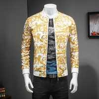 Chaqueta de lujo con estampado de cachemir de oro negro para fiesta de graduación de Fiesta Club Bomber chaquetas hombres Casaca Hombre talla grande 5xl chaqueta masculina