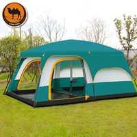 Chameau Ultralarge 6 10 12 double couche extérieur 2 salons et 1 hall famille camping tente en grande qualité espace tente