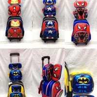 3 pièces/ensemble cartable primaire sacs Captain America Spiderman Batman enfants Anime sac à dos cartable enfant à roulettes 16