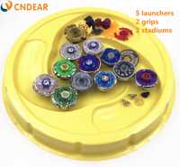 Envío Gratis spin top explosión estadio de fusión metálica 4D Freies fidget spinner lanzador y agarre arena juguetes de los niños