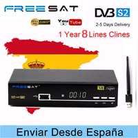 Freesat V8 SUPER receptor de TV por satélite + HD + WIFI USB DVB-S/S2 satélite receptor + 1 año de Europa CCcam libre decodificador de TV vía satélite