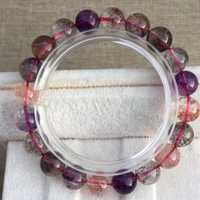 Certificat naturel Super sept 7 violet rutilé Quartz cristal Bracelet femmes rondes perles Bracelet 10mm AAAAA