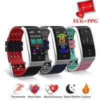 Pulsera inteligente de pulsera de Fitness Monitor de ritmo cardíaco sangre presión reloj ECG + PPG pulsera inteligente ECG reloj inteligente para IOS android