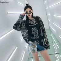 Harajuku Impresión de dragón Tops de manga larga t shirt 2019 de las mujeres de gran tamaño delgada de verano Top de malla camisetas Punk perspectiva T camisas LT278S50