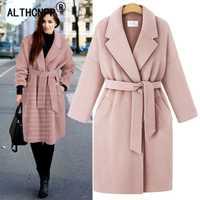 Moda cinturón trinchera abrigo de invierno de lana de las mujeres abrigo L-4XL. Plus tamaño abrigo de lana chaqueta de las señoras chaqueta de piel elegante, Casaco Feminino