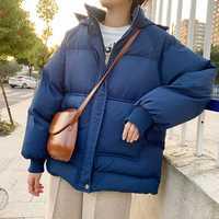 Chaqueta de Otoño de las mujeres abrigo grueso Parkas Mujer con cremallera con capucha Parka cálida Parka estilo coreano de invierno negro blanco suelto abrigo Streetwear