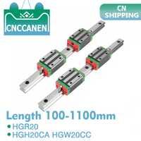 Carril guía lineal cuadrado HGR20 HGH20 de 2 piezas de cualquier longitud + 4 piezas de carro de bloque deslizante HGH20CA/Flang HGW20CC grabado de enrutador de piezas CNC