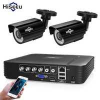 Hiseeu 4CH DVR système CCTV 2 pièces Caméras 2CH 1.0 MP IR Extérieure caméra de sécurité 720 P HDMI AHD CCTV DVR 1200 TVL kit de surveillance