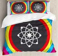 La ciencia funda nórdica reina tamaño átomo modelo con círculos de colores molécula química biología Laboratorio de Física órbita ropa de cama conjunto
