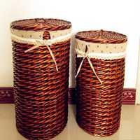 2016 cestas ecológicas contenedores de almacenamiento ropa sucia cajas de almacenamiento de mimbre cesta de lavandería forma redonda gran capacidad con cubierta