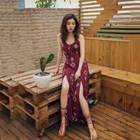 Playa limitada Resort Beach Dress femenino 2018 Nuevo Sling Back Split Bohemia Falda larga