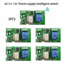 5 unids. DC 5 V 32 V Sonoff WiFi Smart Switch diy relé módulo Smart Home via ios Android phone remote control Automation Modules