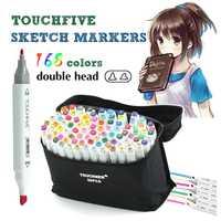 TouchFive 168 colores dibujo marcadores pluma Alcohol Dual hacia consejos permanentes marcador plumas arte marcadores para los niños