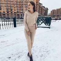 MVGIRLRU de invierno de las mujeres conjuntos de lana trajes de punto de manga larga con cuello en V suéteres + pantalones estilo suelto 2 piezas conjunto ropa Femenina