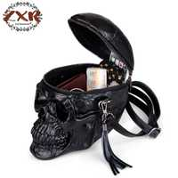 Personalidad moda negro remaches del cráneo de los hombres y de las mujeres Crossbody bolsos de viaje con cremallera bolsas de hombro divertido bolsas