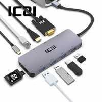 ICZI USB C 10 en tipo C 1 a 4 K HDMI VGA USB 3,0 lector de tarjetas RJ45 de convertidor para MacBook 2018 Samsung S10 Huawei P30