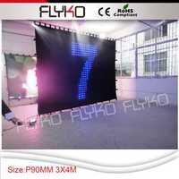 Envío gratis 3*4 m p9cm venta al por mayor de China de vídeo cortina Led DMX láser Disco DJ luz equipo de luz de la etapa