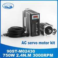 ¡90ST-M02430 220 V 750 W AC Servo motor 3000 RPM 2,4 N.M! 0.75KW-fase ac imán permanente coincidentes conductor