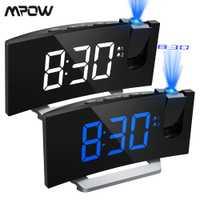 MPOW LED proyección 2 alarmas reloj multifuncional 5 pulgadas pantalla curva 5 niveles de brillo de la pantalla 4 alarma ajustables suena