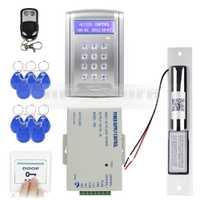 DIYSECUR Control remoto RFID Kit de sistema de bloqueo de puerta + sistema de seguridad de bloqueo de perno eléctrico con botón de timbre