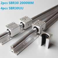 2 piezas SBR30-L 2000mm guía lineal riel de soporte + 4 piezas SBR30UU rodamiento lineal de enrutador CNC partes de carril lineal