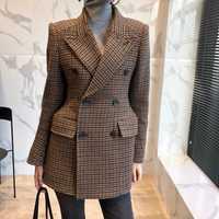 Slim de lana de chaqueta de traje de invierno de 2018 otoño nueva moda elegante marrón cuadros chaquetas de las mujeres Vintage, desgaste de la Oficina