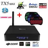 Tanix TX5 MAX Android 8,1 Smart TV Box Amlogic S905X2 4 GB DDR4 32 GB ROM 2,4G 5G wiFi 1000 M LAN Bluetooth 4,2 4 K H.265 Player box