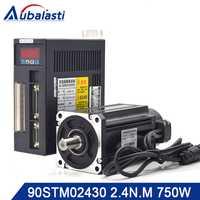¡Aubalasti 90ST-M02430 220 V 750 W AC Servo motor 3000 RPM 2,4 N.M! 0.75KW-fase ac imán permanente coincidentes conductor
