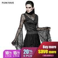 PUNK RAVE gótico mujeres araña largo manga camiseta negra mujer Sexy de encaje ajustable venda camisetas Tops camisetas Halloween