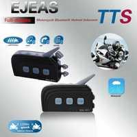 2 PC EJEAS TTS Dual Bluetooth del intercomunicador del casco de la motocicleta auriculares Bluetooth Kit Max 4 jinetes Moto interfono sistema de comunicación con FM