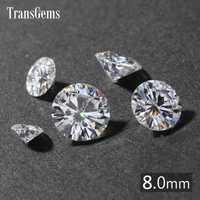 Transgemmes 1 pièce diamètre 8mm GH sans couleur cœurs ronds et flèches coupés laboratoire cultivé Moissanite pour la fabrication de bijoux environ 2 carats