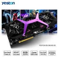 Yeston Radeon RX 590 GPU 8 GB GDDR5 256bit juego de computadora de escritorio PC tarjetas gráficas apoyo DVI/HDMI PCI-E X16 3,0