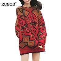 RUGOD 2018 invierno gótico impresión suéter largo Jumpers mujeres moda coreano O cuello de manga larga de punto suéter Mujer Befree